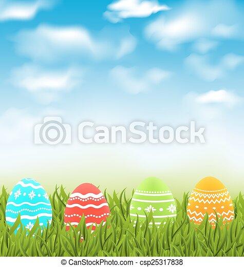 azul, pradera, natural, colorido, huevos, cielo, tradicional, nubes, pasto o césped, pascua, paisaje - csp25317838