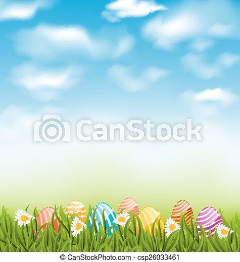 azul, pradera, natural, pintado, huevos, cielo, tradicional, nubes, pasto o césped, pascua, paisaje - csp26033461