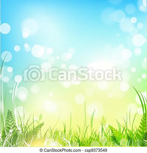 azul, primavera, céu, prado - csp9373549