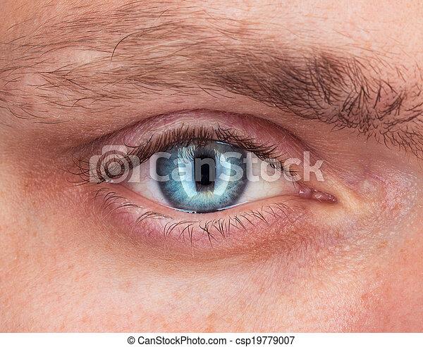 azul, primer plano, ojo, hombre - csp19779007