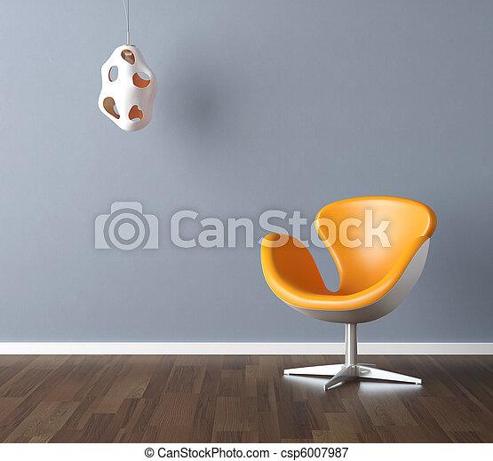 azul, projeto interior, cena, amarela - csp6007987