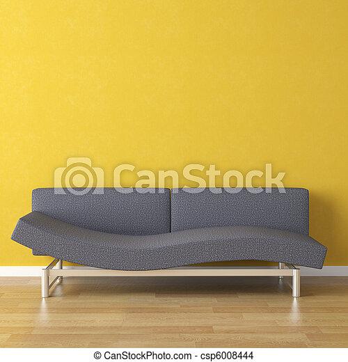 azul, projeto interior, sofá amarelo - csp6008444