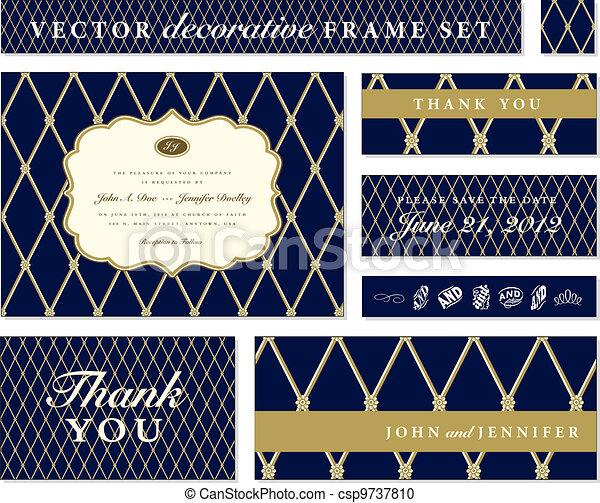 azul, quadro, vetorial, jogo, ornate - csp9737810