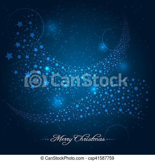 Trasfondo de Navidad azul con rastro de estrellas - csp41587759