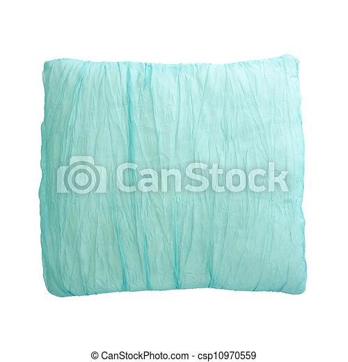 Almohada azul aislada en el fondo blanco con camino de recorte - csp10970559