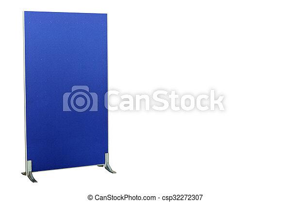 Pandilla de partición azul oscuro aislada en fondo blanco con camino de recorte - csp32272307