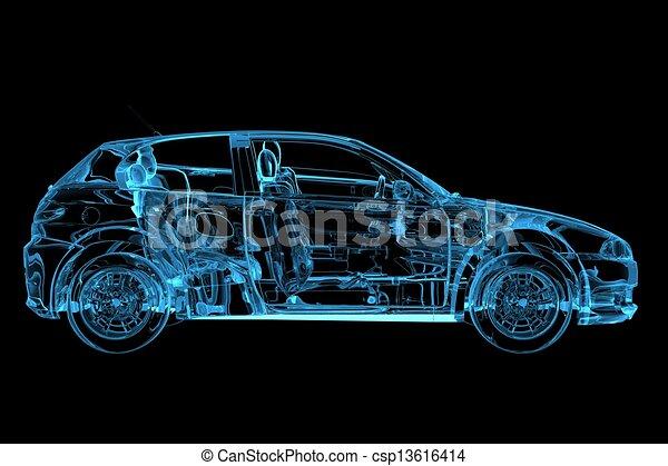 El coche 3D hizo la radiografía azul transparente - csp13616414