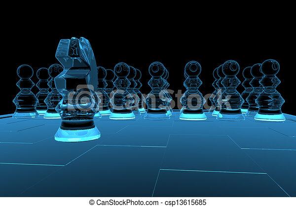 azul, representado, xray, xadrez, transparente, 3d - csp13615685