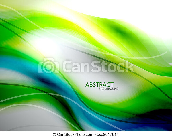 Trasfondo abstracto de ondas verdes - csp9617814