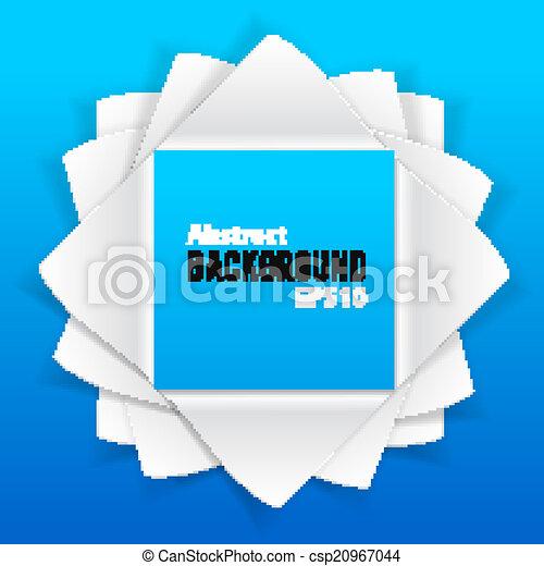 Elementos de papel abstractos sobre fondo azul - csp20967044