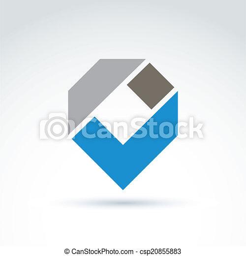 Elemento de diseño empresarial abstracto. Simbolo geométrico, azul - csp20855883