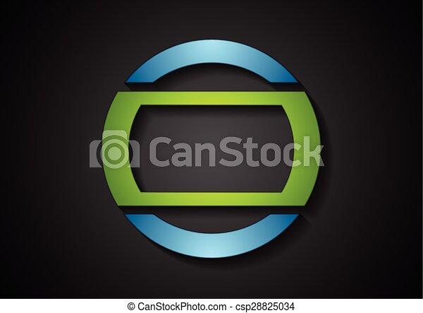 azul, resumen, verde, logotipo, diseño, geométrico - csp28825034