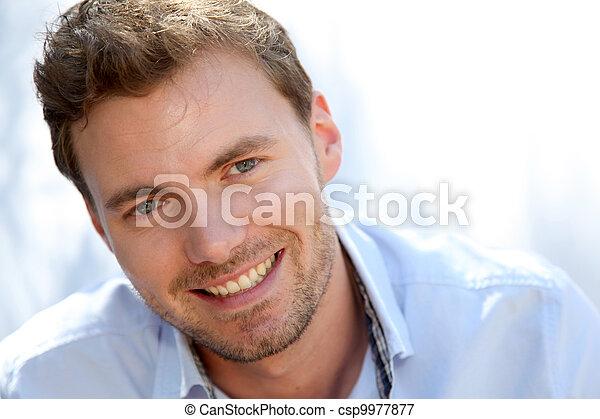 azul, retrato, bonito, camisa, homem - csp9977877