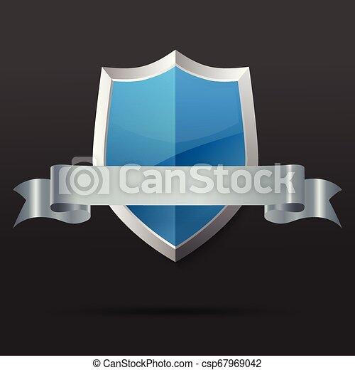 azul, ribbon., illustration., vetorial, prata, escudo - csp67969042
