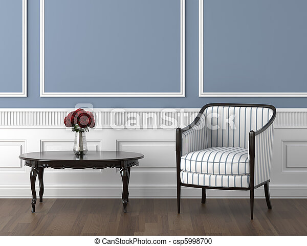 Cuarto de clase azul y rosas - csp5998700