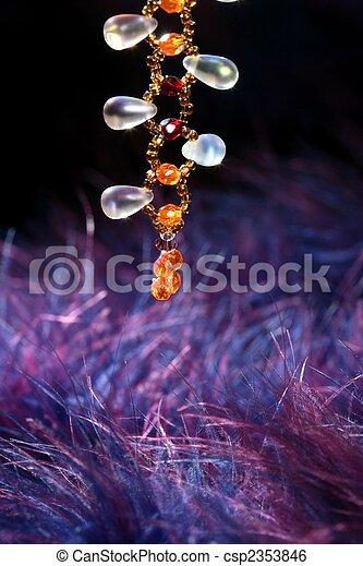 azul, roxo, sobre, jóia, laranja, colar, pena - csp2353846