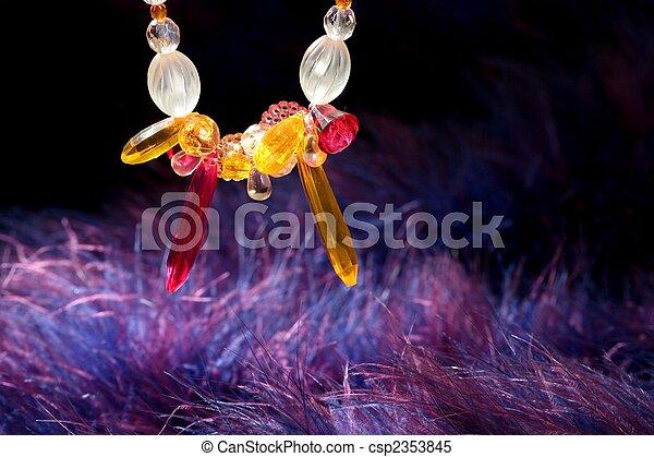 azul, roxo, sobre, jóia, laranja, colar, pena - csp2353845