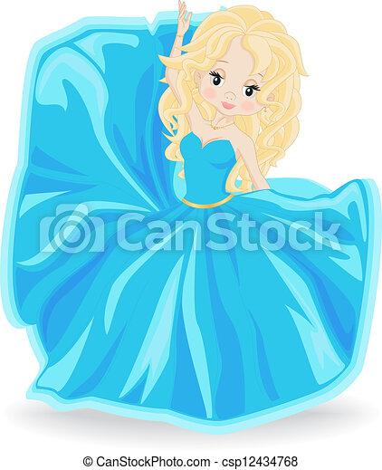 Rubia vestida de noche azul - csp12434768