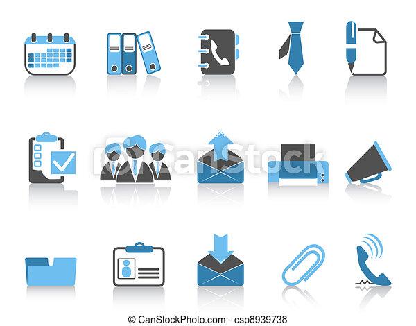 azul, série, escritório negócio, ícones - csp8939738