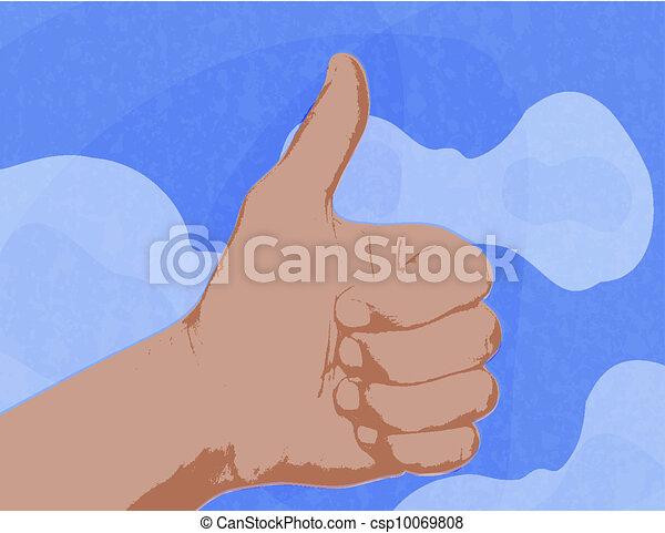 Muestra un pulgar arriba como símbolo contra el cielo azul con nubes. - csp10069808