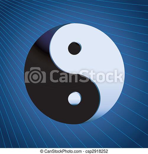 El símbolo Ying yang en el fondo azul - csp2918252