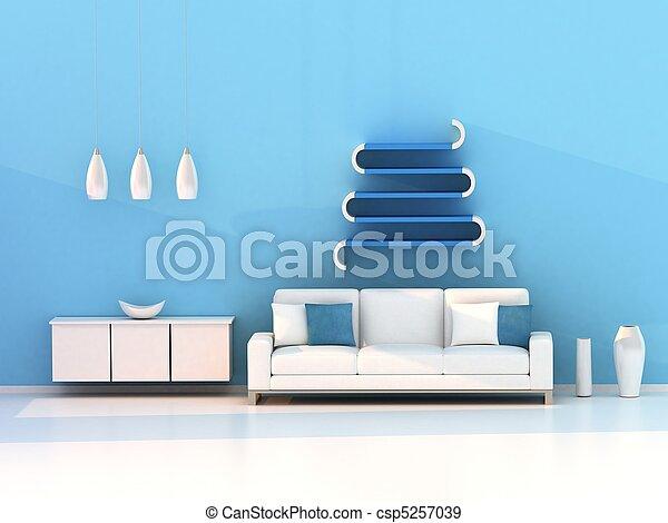 azul, sala de estar, quarto moderno - csp5257039