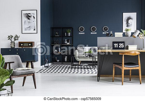sala de estantes de esquina Azul Sala Silln Computador Portatil Sof Gabinete