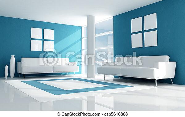 azul, sala, vida moderna - csp5610868