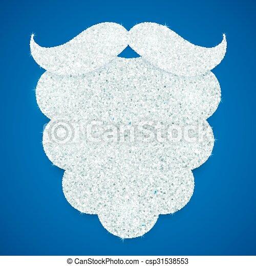 Santa Claus purpurina de plata barba en el fondo azul - csp31538553