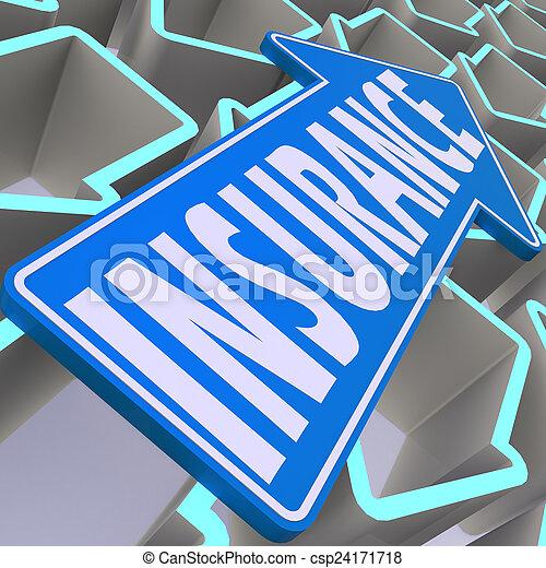 Flecha azul de seguro - csp24171718