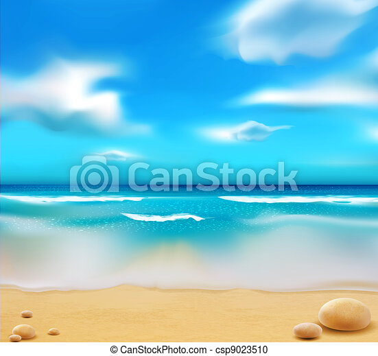 azul, seixos, praia, oceânicos - csp9023510