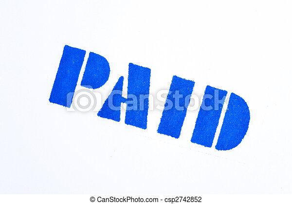 azul, selo, branca, pago - csp2742852