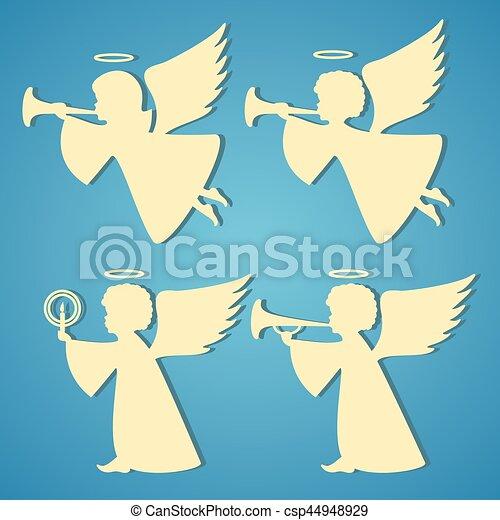 Azul Silhuetas Anjos Fundo Ouro Azul Experiencia Silhuetas