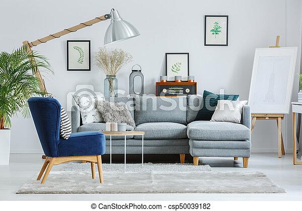 Azul sill n gris alfombra azul vida l mpara for Sillon gris