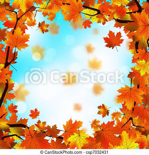 azul, sky., folhas, eps, amarela, contra, 8, vermelho - csp7032431
