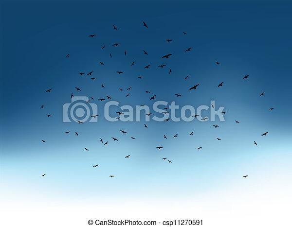 Reloj de pájaros voladores en el cielo azul. Vector - csp11270591