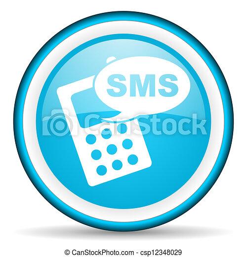Es un icono azul brillante de fondo blanco - csp12348029