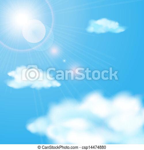 azul, sol, céu, nublado, brilhar - csp14474880