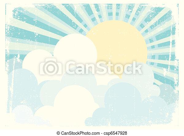 azul, sol, imagem, céu, clouds., vetorial, vindima, beautifull - csp6547928