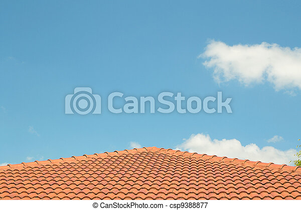 azul, techado, sky., foto, contra, concreto, materiales, techo embaldosado - csp9388877