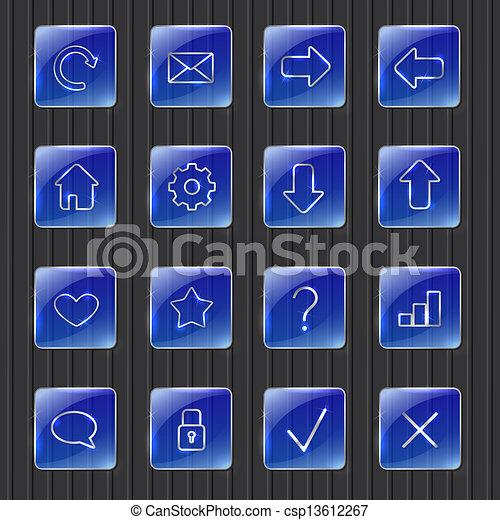 Botones de telaraña azul - csp13612267