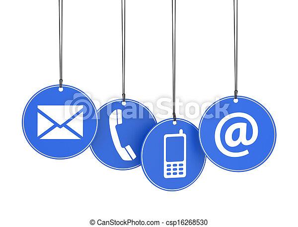 Web contacta con nosotros iconos en etiquetas azules - csp16268530