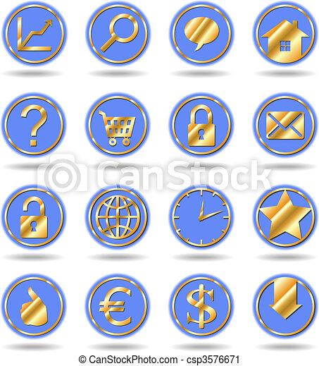 Botones azules de oro - csp3576671