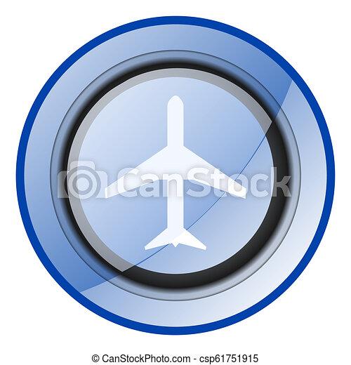 Icono vector aereo. Simbolo web azul de avión. Señal de avión. - csp61751915