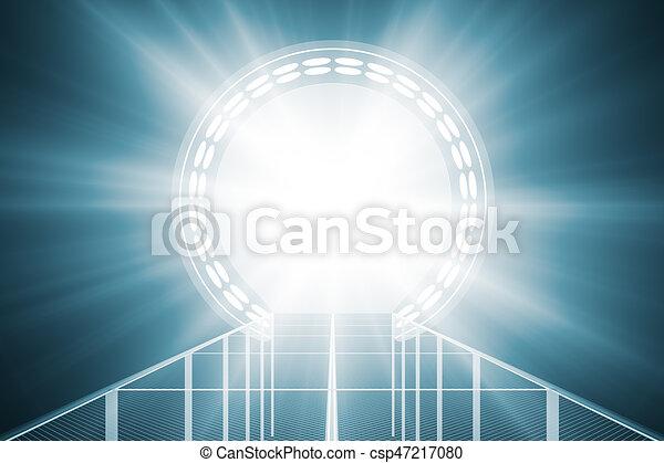 Un teletransporte azul brillante - csp47217080