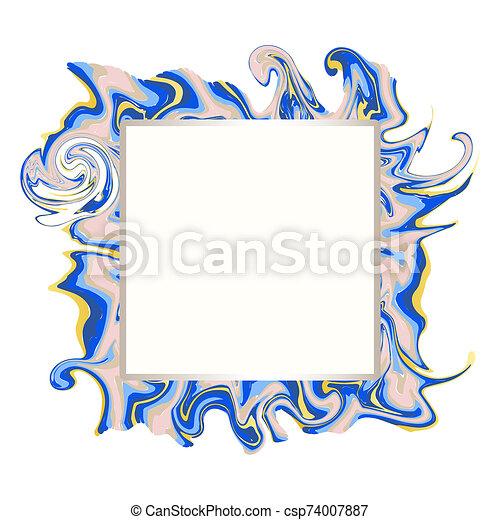 azul, textura, copia, oro, cuadrado, mármol, marco, espacio - csp74007887