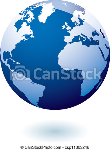 Un icono azul gel terrestre - csp11303246