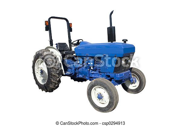 Un tractor azul - csp0294913