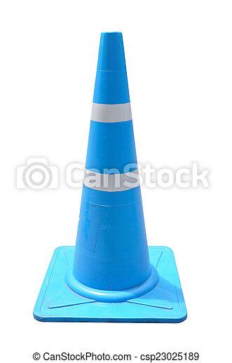 Cono de tráfico Blue Pylon sobre fondo blanco con ruta de recorte. - csp23025189