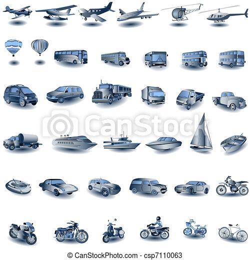 azul, transporte, ícones - csp7110063